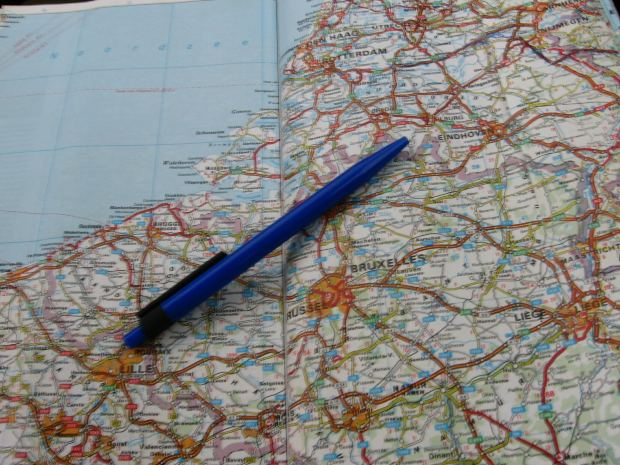 pen on map