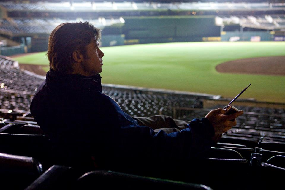 Brad Pitt looking over the baseball field in Moneyball. Image source: facebook